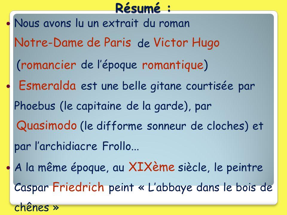 Résumé : Notre-Dame de Paris Victor Hugo (romancier romantique)