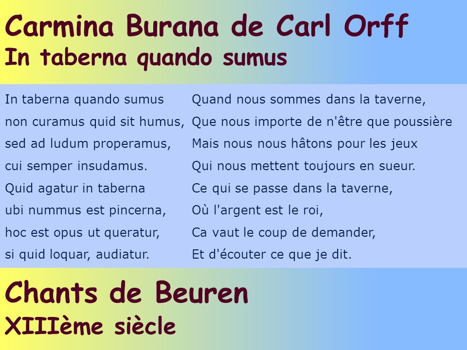 Carmina Burana de Carl Orff In taberna quando sumus