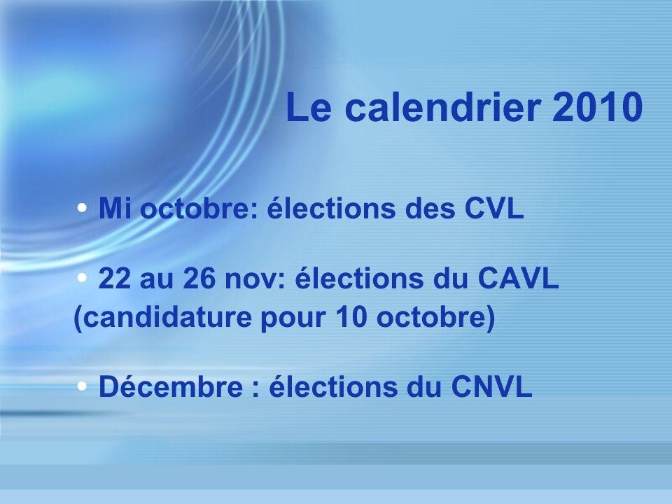 Le calendrier 2010 Mi octobre: élections des CVL