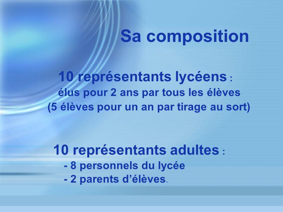 Sa composition 10 représentants adultes : 10 représentants lycéens :