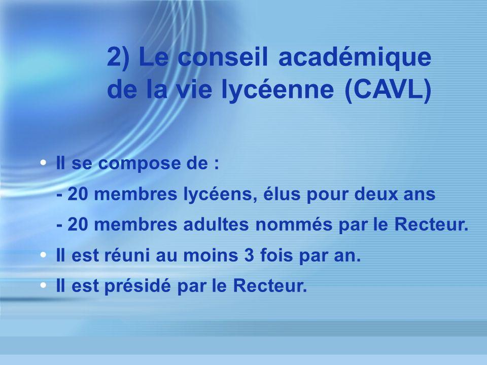 2) Le conseil académique de la vie lycéenne (CAVL)