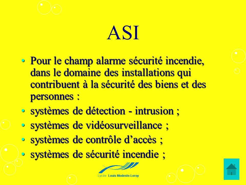 ASIPour le champ alarme sécurité incendie, dans le domaine des installations qui contribuent à la sécurité des biens et des personnes :