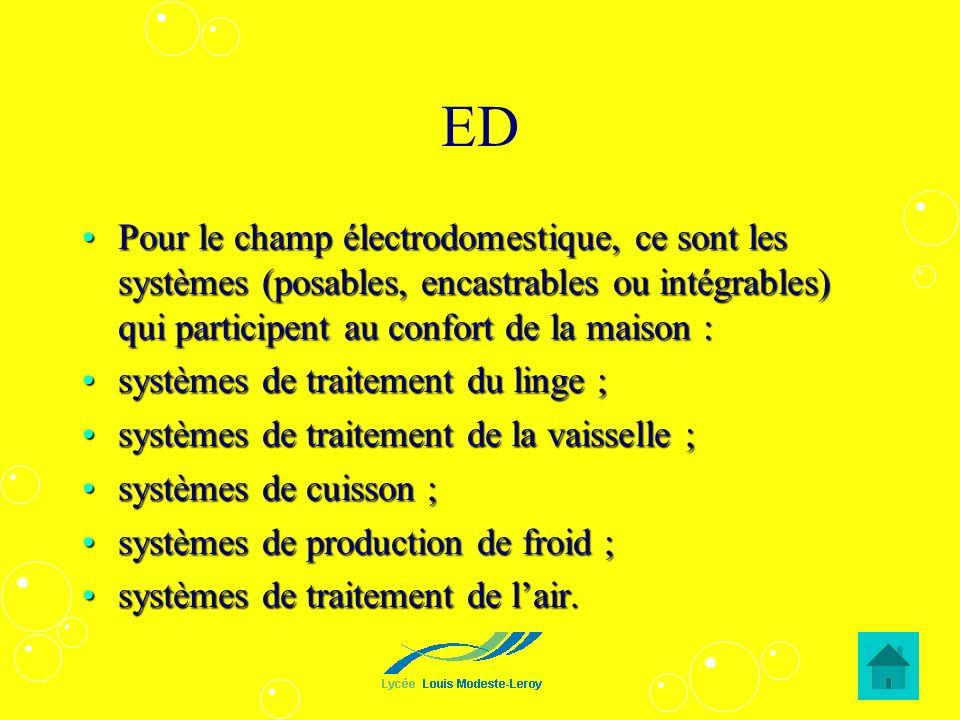 EDPour le champ électrodomestique, ce sont les systèmes (posables, encastrables ou intégrables) qui participent au confort de la maison :