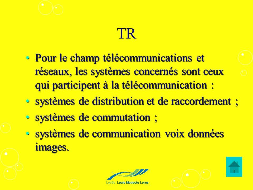 TR Pour le champ télécommunications et réseaux, les systèmes concernés sont ceux qui participent à la télécommunication :
