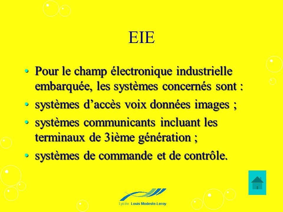 EIE Pour le champ électronique industrielle embarquée, les systèmes concernés sont : systèmes d'accès voix données images ;