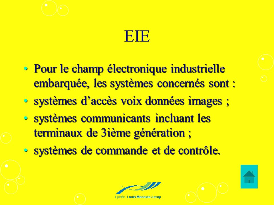 EIEPour le champ électronique industrielle embarquée, les systèmes concernés sont : systèmes d'accès voix données images ;