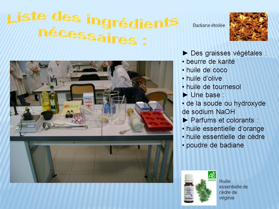 Liste des ingrédients nécessaires :