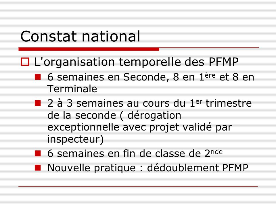 Constat national L organisation temporelle des PFMP