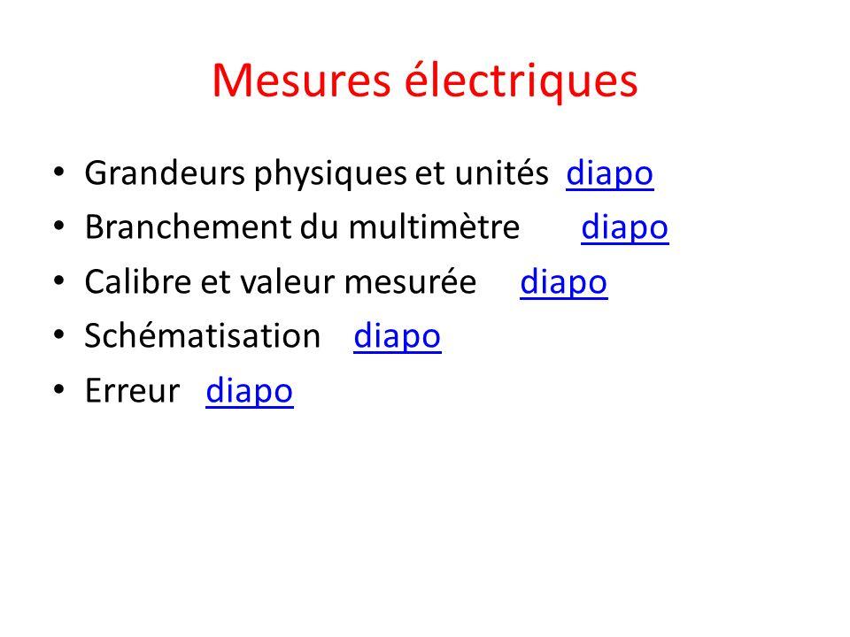Mesures électriques Grandeurs physiques et unités diapo