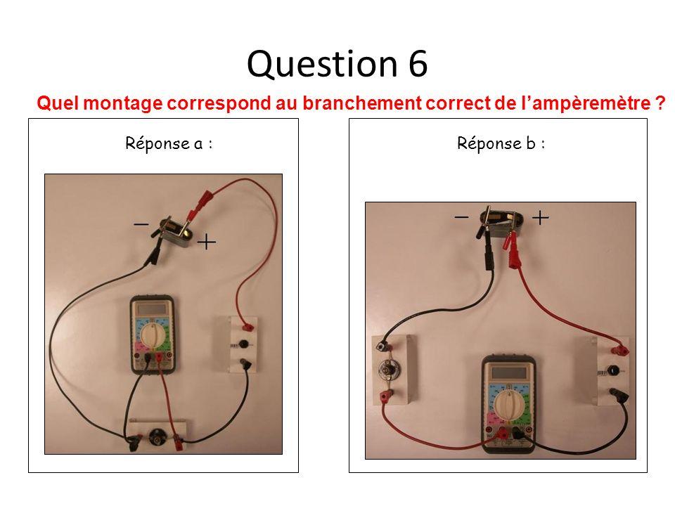 Quel montage correspond au branchement correct de l'ampèremètre