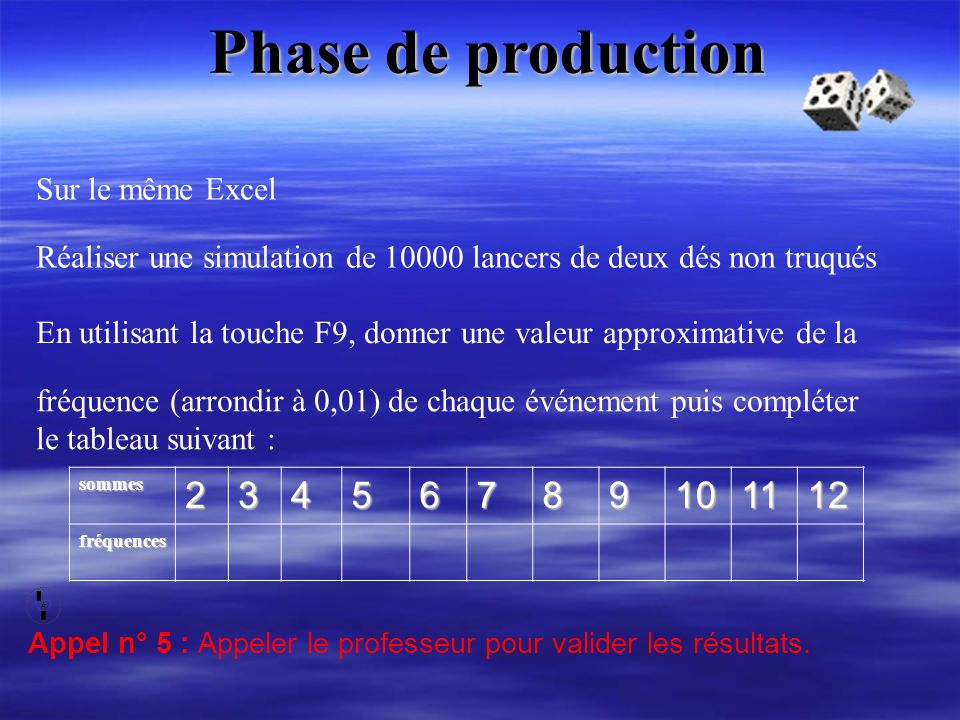 Phase de production 2 3 4 5 6 7 8 9 10 11 12 Sur le même Excel
