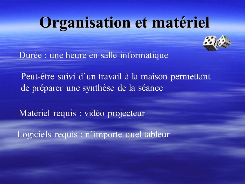 Organisation et matériel