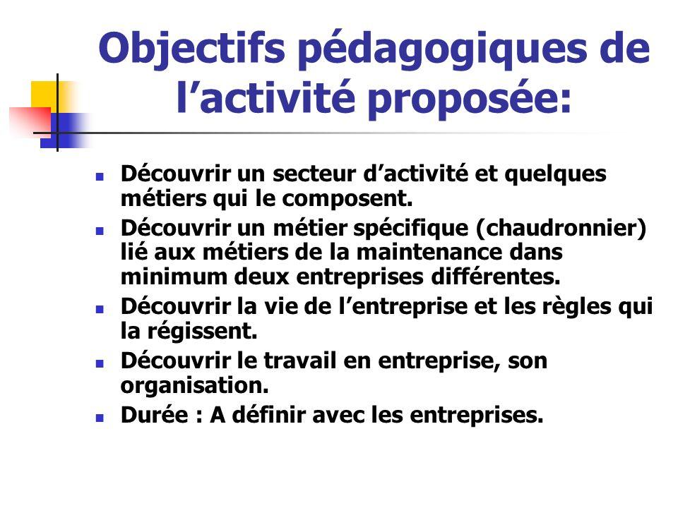 Objectifs pédagogiques de l'activité proposée: