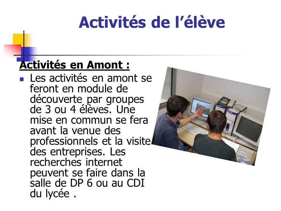 Activités de l'élève Activités en Amont :