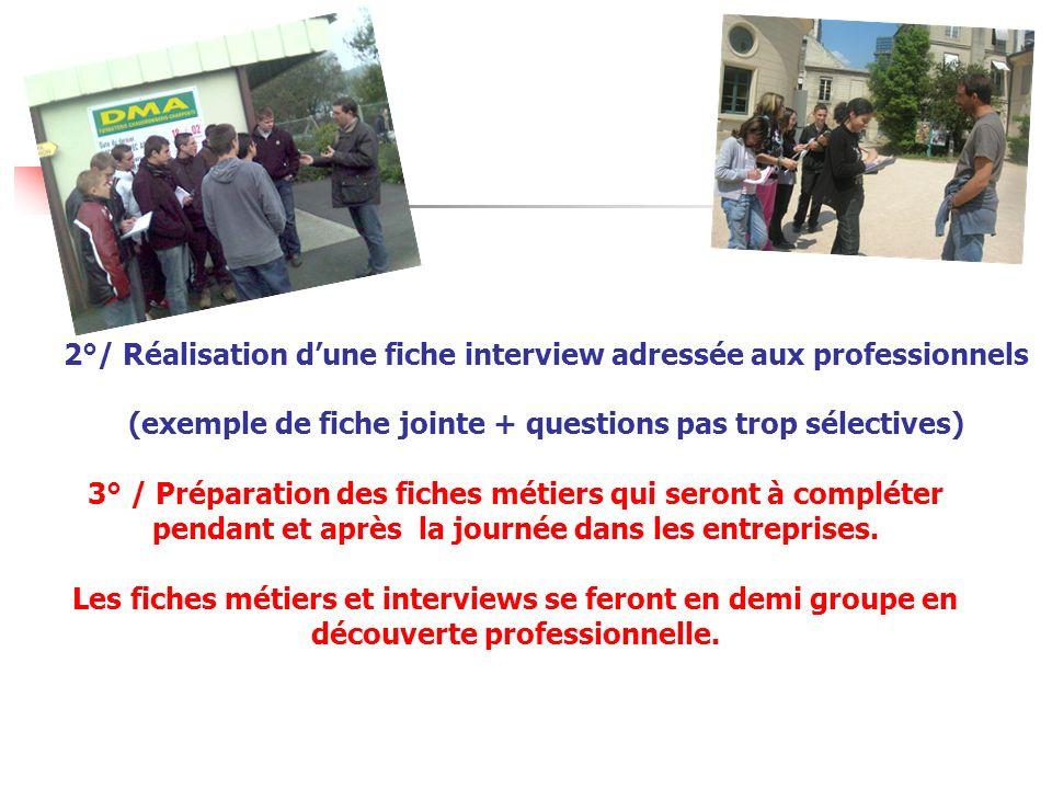 2°/ Réalisation d'une fiche interview adressée aux professionnels (exemple de fiche jointe + questions pas trop sélectives)