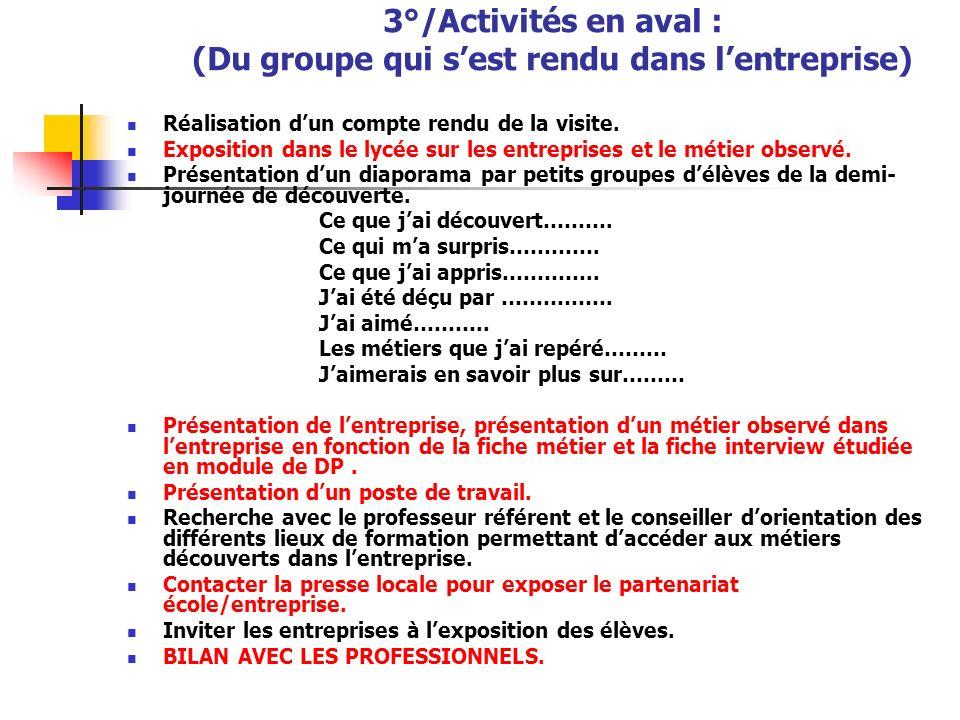 3°/Activités en aval : (Du groupe qui s'est rendu dans l'entreprise)