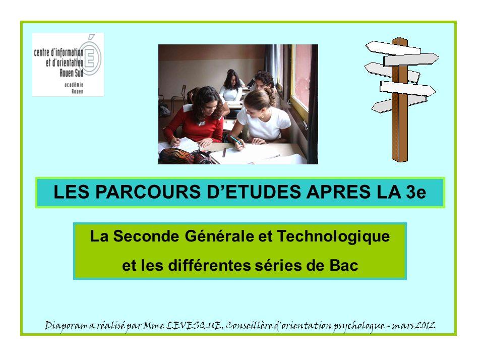 LES PARCOURS D'ETUDES APRES LA 3e