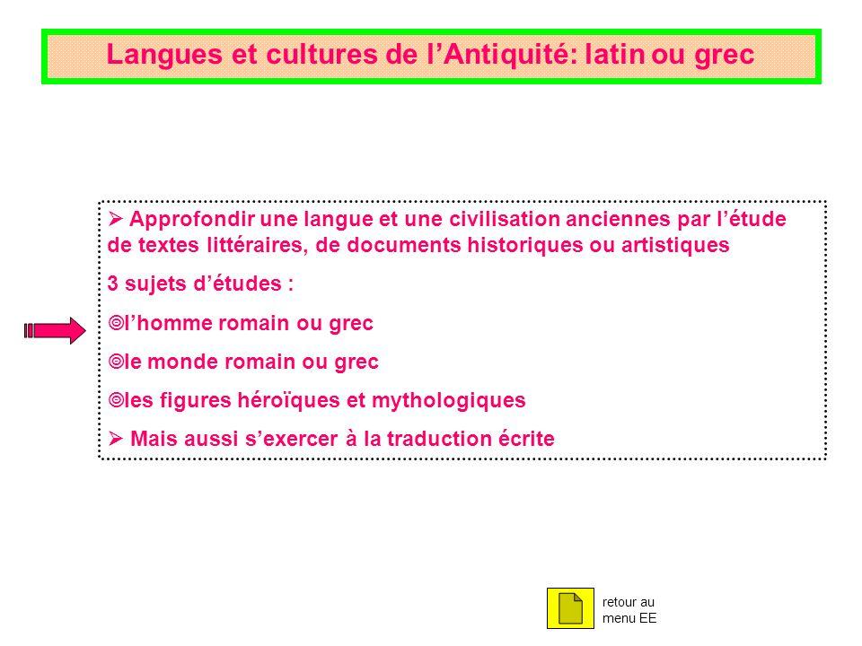 Langues et cultures de l'Antiquité: latin ou grec