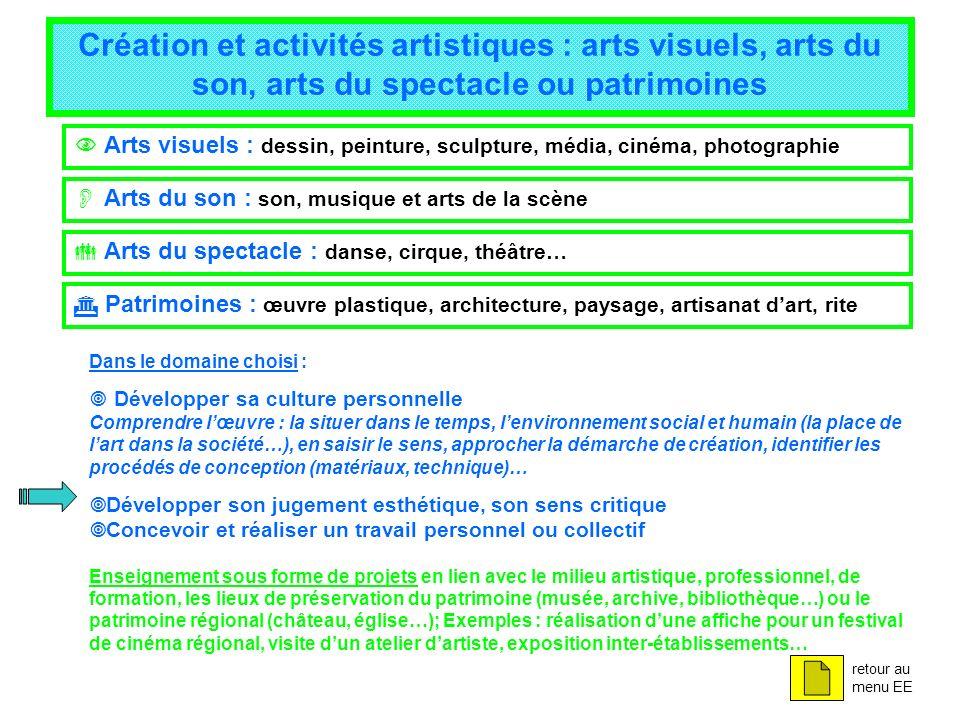 Création et activités artistiques : arts visuels, arts du son, arts du spectacle ou patrimoines