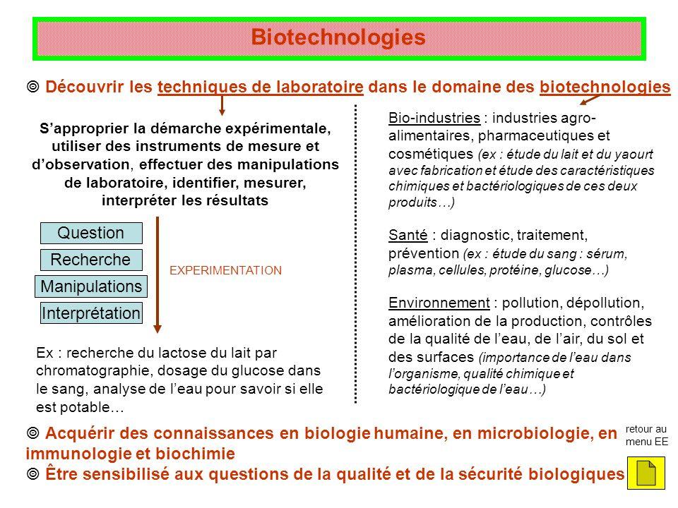 Biotechnologies  Découvrir les techniques de laboratoire dans le domaine des biotechnologies.