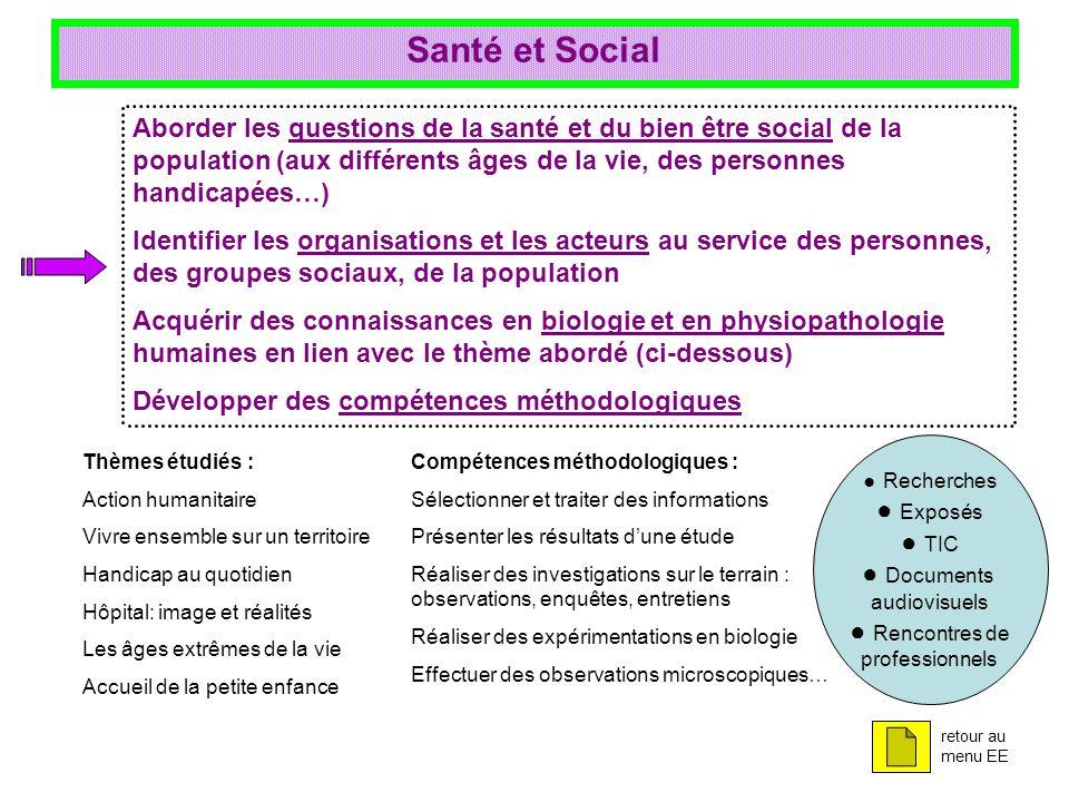 Santé et Social Aborder les questions de la santé et du bien être social de la population (aux différents âges de la vie, des personnes handicapées…)