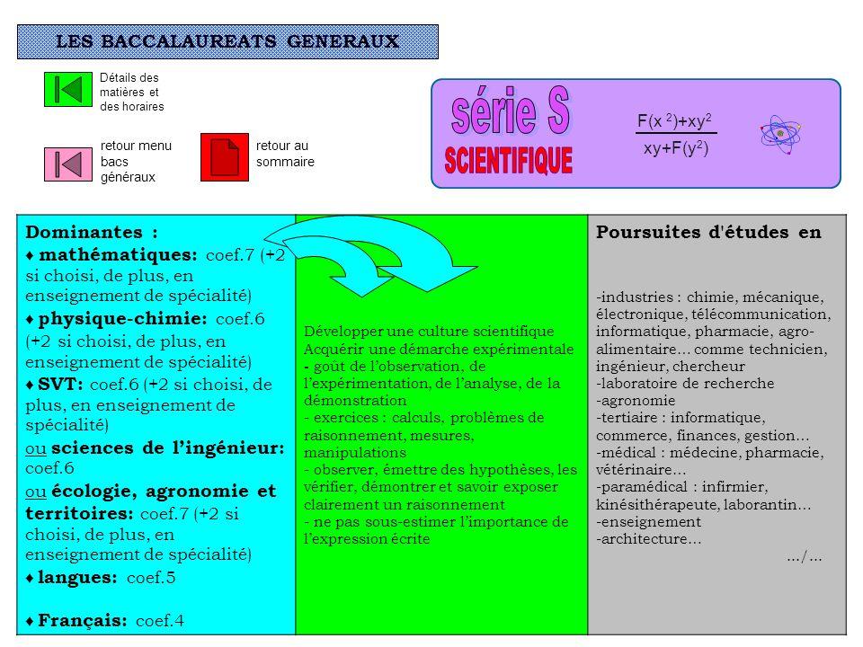 LES BACCALAUREATS GENERAUX