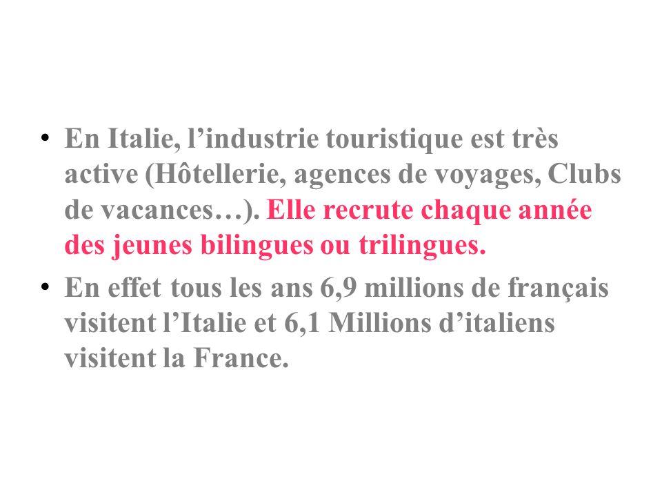 En Italie, l'industrie touristique est très active (Hôtellerie, agences de voyages, Clubs de vacances…). Elle recrute chaque année des jeunes bilingues ou trilingues.