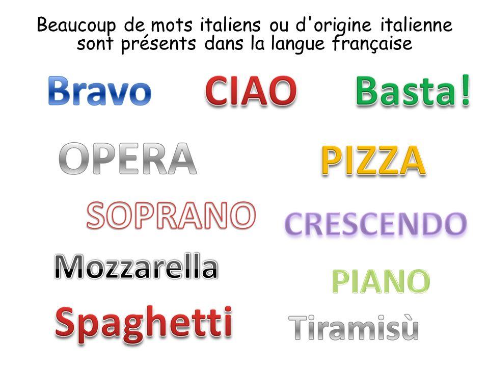 Beaucoup de mots italiens ou d origine italienne sont présents dans la langue française