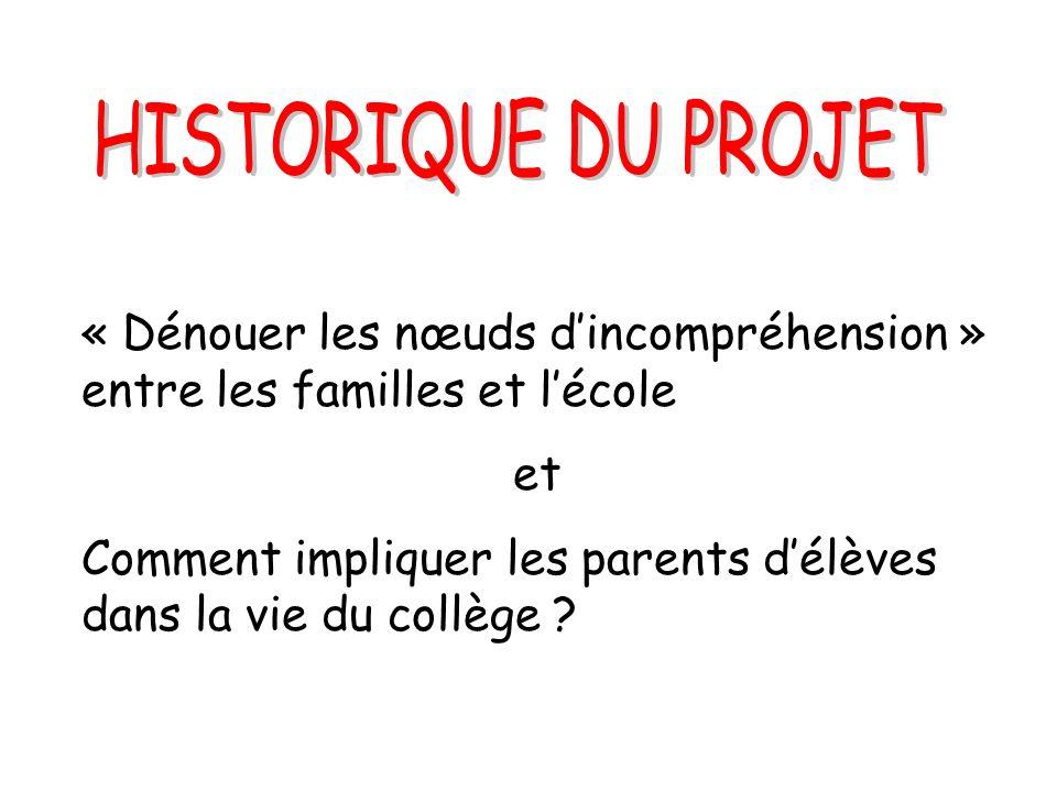 HISTORIQUE DU PROJET « Dénouer les nœuds d'incompréhension » entre les familles et l'école. et.