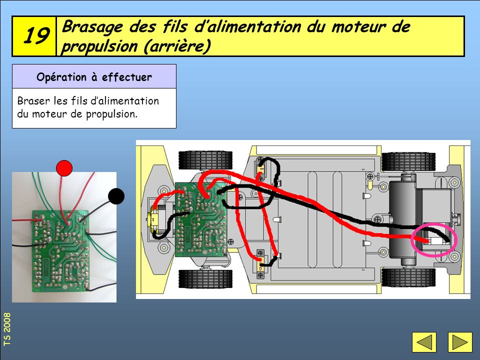 Brasage des fils d'alimentation du moteur de propulsion (arrière)