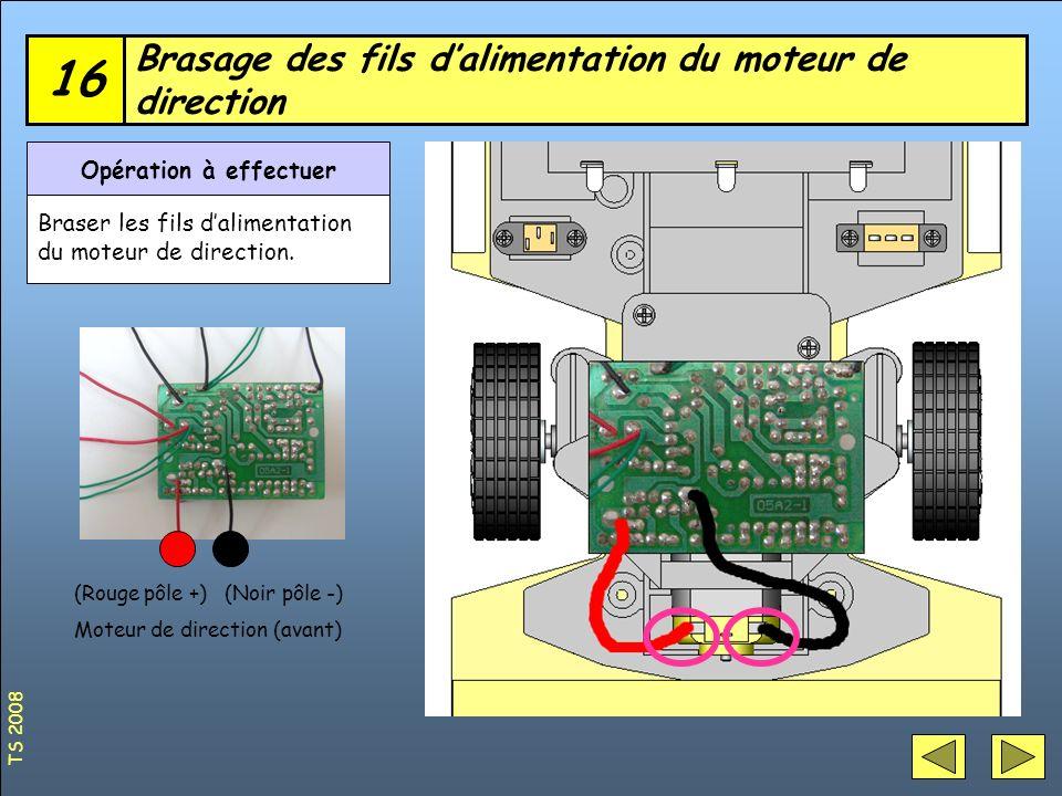 Brasage des fils d'alimentation du moteur de direction