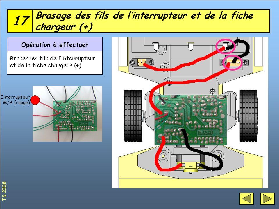 Brasage des fils de l'interrupteur et de la fiche chargeur (+)