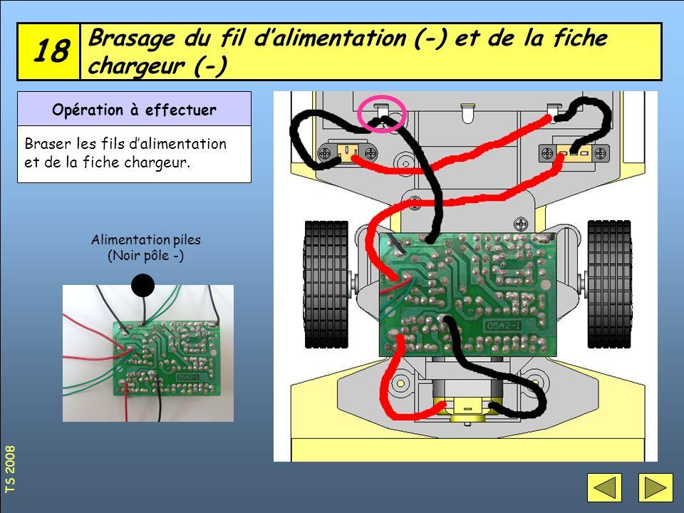 Brasage du fil d'alimentation (-) et de la fiche chargeur (-)
