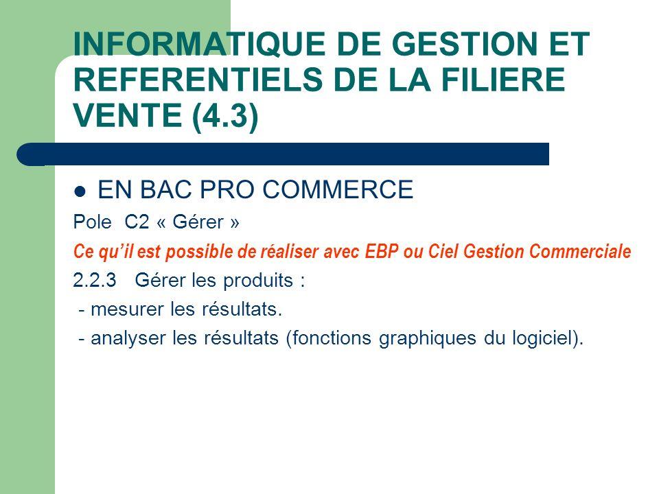 INFORMATIQUE DE GESTION ET REFERENTIELS DE LA FILIERE VENTE (4.3)