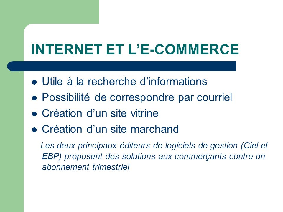 INTERNET ET L'E-COMMERCE