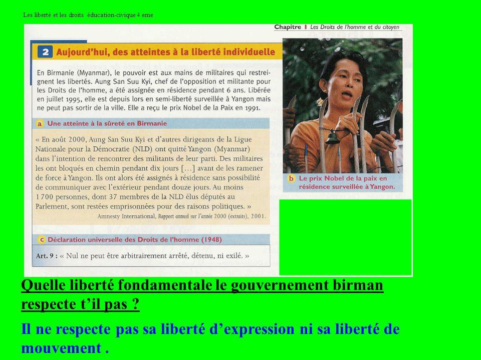 Les liberté et les droits éducation-civique 4 eme