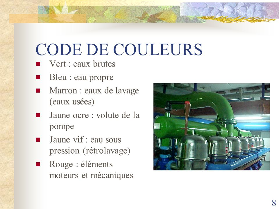 CODE DE COULEURS Vert : eaux brutes Bleu : eau propre