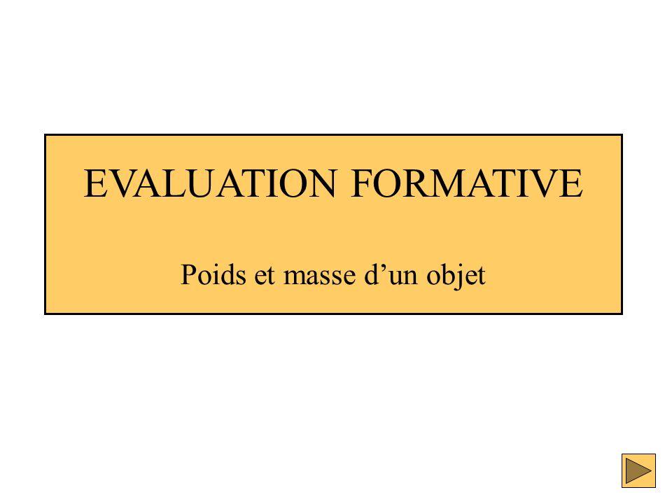 EVALUATION FORMATIVE Poids et masse d'un objet