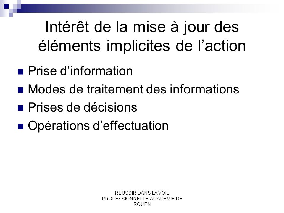 Intérêt de la mise à jour des éléments implicites de l'action