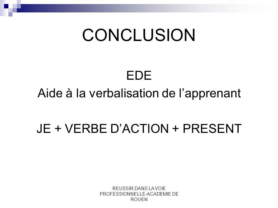 CONCLUSION EDE Aide à la verbalisation de l'apprenant