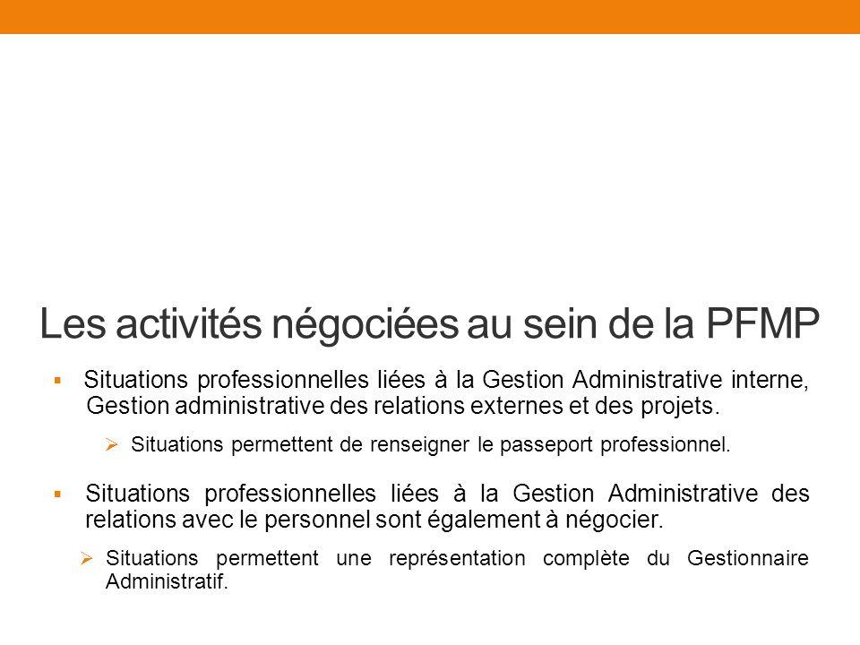 Les activités négociées au sein de la PFMP
