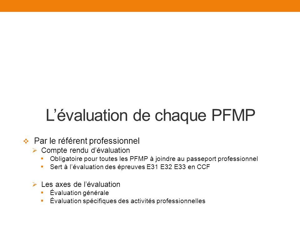 L'évaluation de chaque PFMP