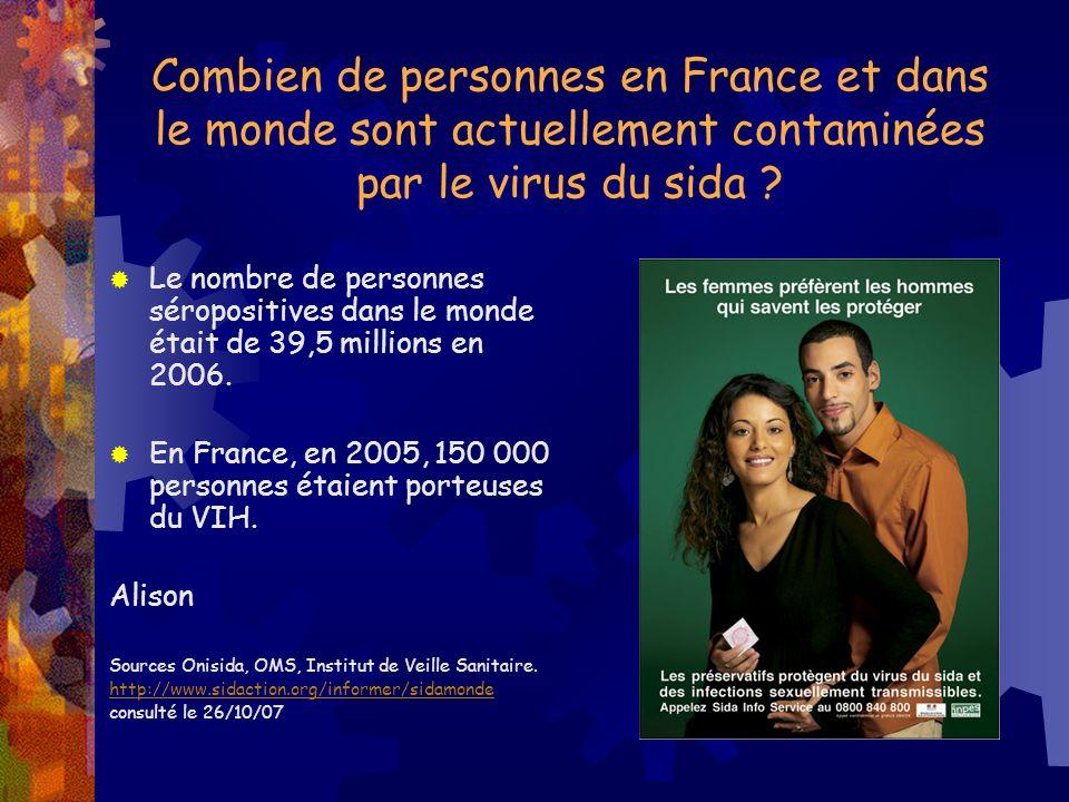 Combien de personnes en France et dans le monde sont actuellement contaminées par le virus du sida