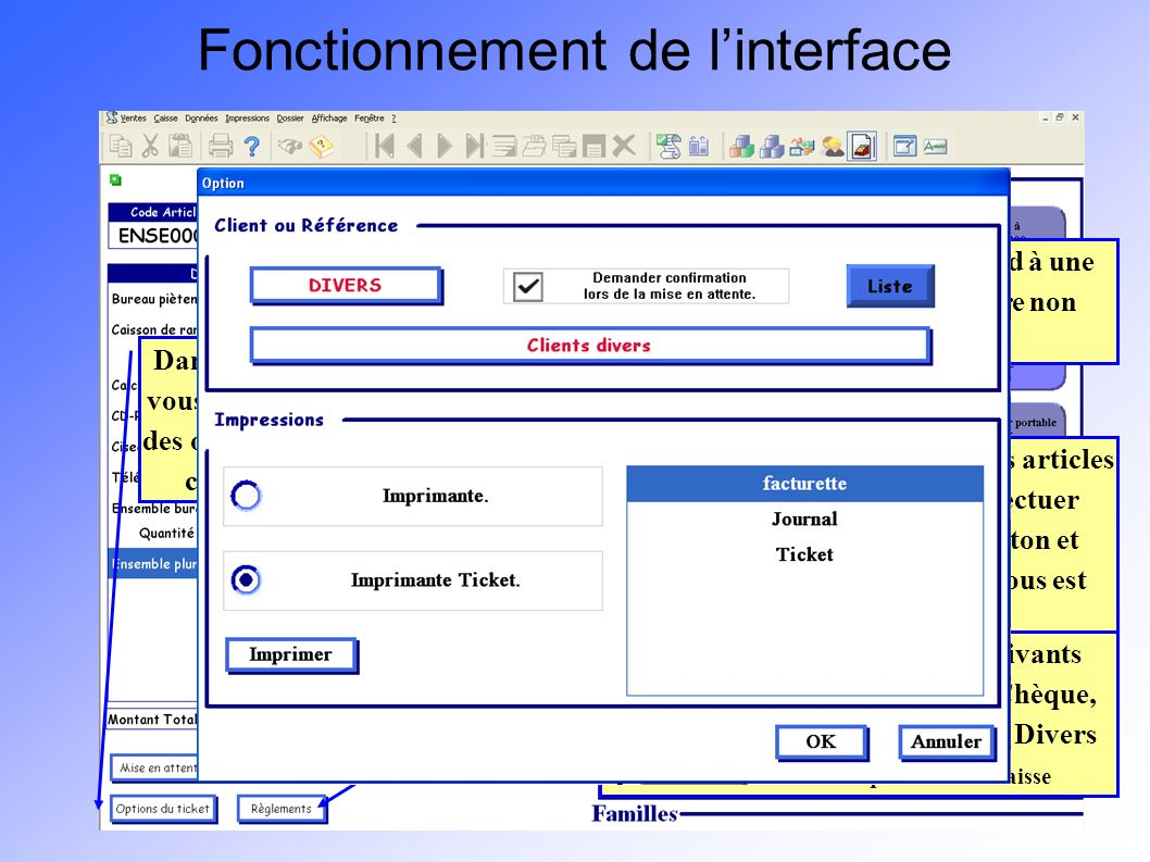 Fonctionnement de l'interface