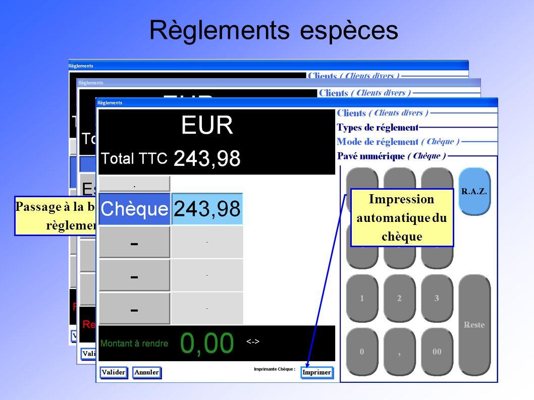 Règlements espèces Pour appliquer une remise, cliquez sur le bouton situé juste en-dessous de la mention Total TTC.
