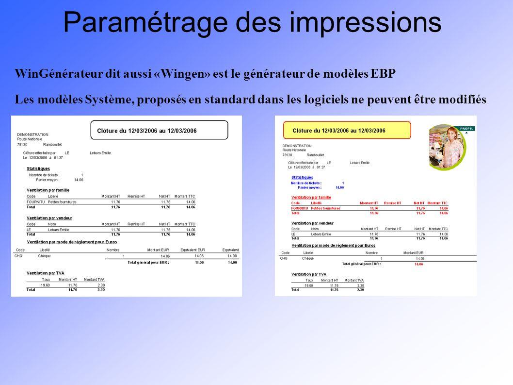 Paramétrage des impressions