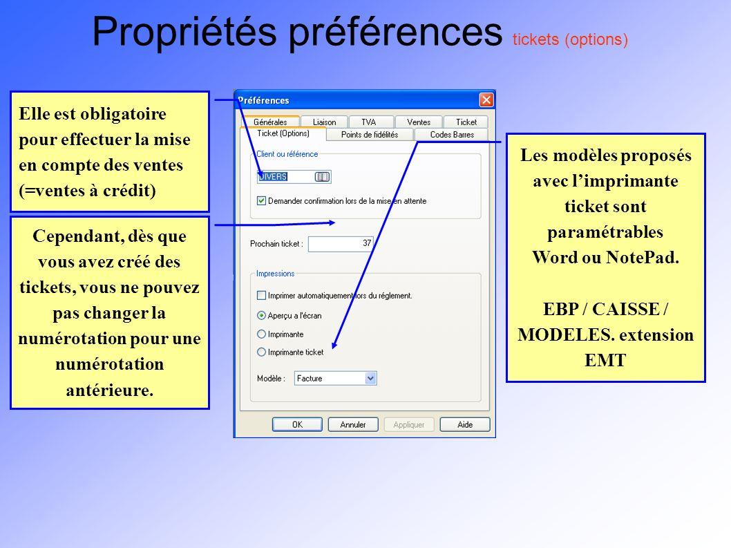 Propriétés préférences tickets (options)