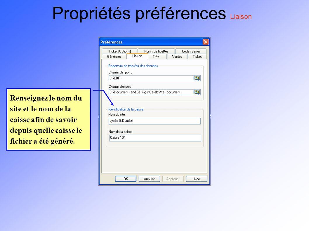 Propriétés préférences Liaison