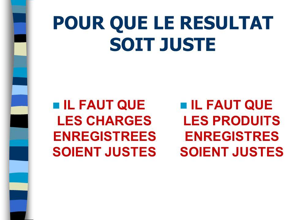 POUR QUE LE RESULTAT SOIT JUSTE