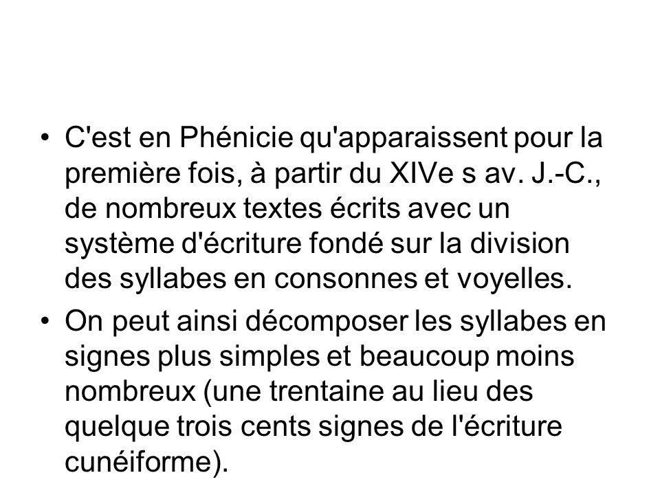 C est en Phénicie qu apparaissent pour la première fois, à partir du XIVe s av. J.-C., de nombreux textes écrits avec un système d écriture fondé sur la division des syllabes en consonnes et voyelles.